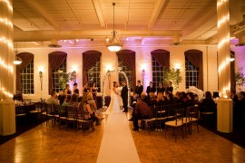 Wedding ceremony at The Great Room at Savage Mill